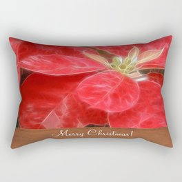 Mottled Red Poinsettia 1 Ephemeral Merry Christmas S1F1 Rectangular Pillow