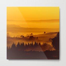 Orange Mist Over The Hills  Metal Print