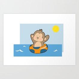 Summer Monkey Art Print