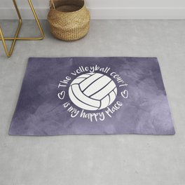 The volleyball court is my happy place purple abstract Rug