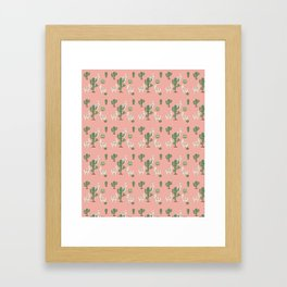 Alpaca with Cacti Framed Art Print