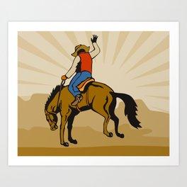 Rodeo Cowboy Riding Bucking Bronco Horse Art Print