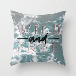 Wild and Free Waves in Rose Gold Throw Pillow