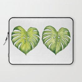 Two monstera leaves in watercolor Laptop Sleeve