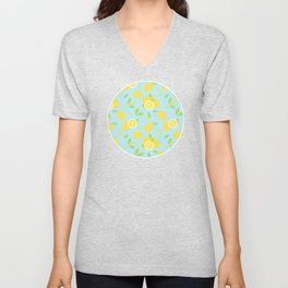 Bright And Sunny And Stamped Lemon Citrus Pattern Unisex V-Neck