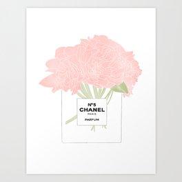 minimal no. 5 perfume with pink flowers Art Print