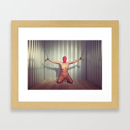 Nude woman cuffed with heavy iron cuffs in a steel container Framed Art Print