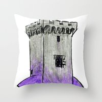 gengar Throw Pillows featuring Castle Gengar by notalkingplz
