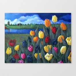 Dutch Tulips, Bright Colorful Flower Painting Canvas Print