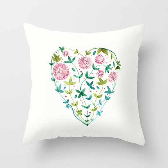 garden heart Throw Pillow