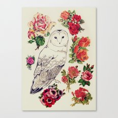 flower owl Canvas Print