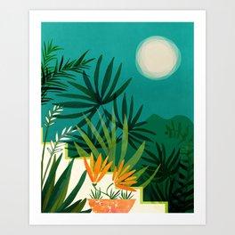 Tropical Moonlight / Night Scene Illustration Art Print