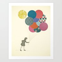 party Art Prints featuring Party Girl by Cassia Beck