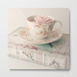 Rosey Tea and Book Metal Print