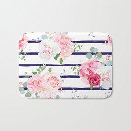 Pink Floral & Navy Stripes Bath Mat
