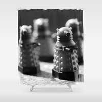 robots Shower Curtains featuring Robots by Emma Harckham