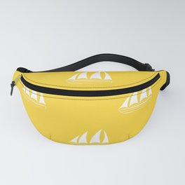 White Sailboat Pattern on yellow background Fanny Pack