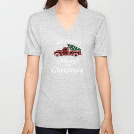 Have yourself a Merry little Christmas Vintage Truck Unisex V-Neck