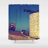 jeep Shower Curtains featuring windmill and the jeep in yalıkavak by gzm_guvenc