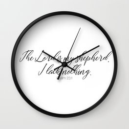 The Lord is my Shepherd #psalm #minimalist Wall Clock