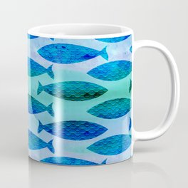 Blue Turquoise Green Watercolor Fish Pattern Coffee Mug