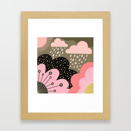 Modern abstract pattern – flowers, clouds and sunshine. Block colors in pink and gold Framed Art Print