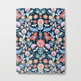Happy Folk Summer Floral on Navy Metal Print