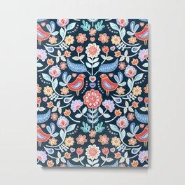 Happy Folk Summer Floral on Navy Metal Print