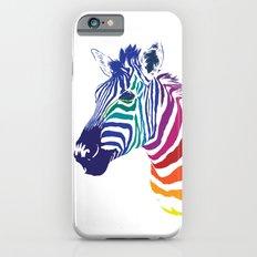 Rainbow Zebra Colorful Animals Whimsical Art iPhone 6s Slim Case