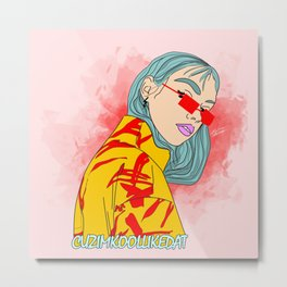 CUZ IM KOOL LIKE DAT - Asian Female with Blue Hair Digital Drawing Metal Print