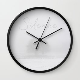 Winter scenery with tree fog Wall Clock