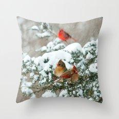After the Snow Storm: Three Cardinals Throw Pillow