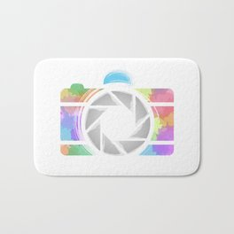 Watercolor Photography camera- Rainbow colored photography lover Bath Mat