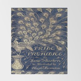 Pride and Prejudice, Peacock; Vintage Book Cover Throw Blanket