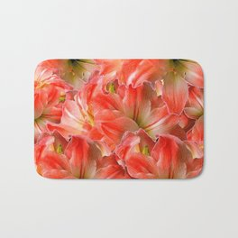 Pink & Red Amaryllis Patterns Floral Art Bath Mat