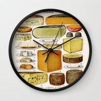 cheese Wall Clocks featuring CHEESE by Kathead Tarot/David Rivera