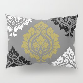 Decorative Damask Pattern BW Gray Gold Pillow Sham