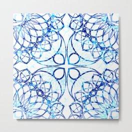 Blue Boho Chic Mandala Pattern Metal Print
