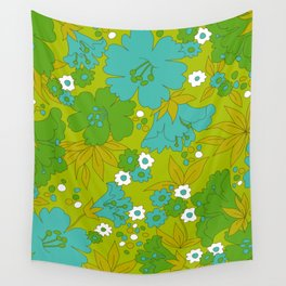 Green, Turquoise, and White Retro Flower Design Pattern Wall Tapestry