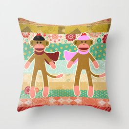 Cute Sock Monkey on Cloth Pattern Throw Pillow