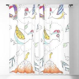 Whimsical Birds & Worm Blackout Curtain