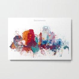 Colorful Sacramento watercolor skyline Metal Print