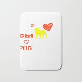 This Girl Loves Her Pug Dog Breed Puppy Bath Mat