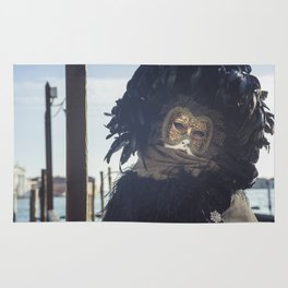 Black carnival mask in Venice Rug