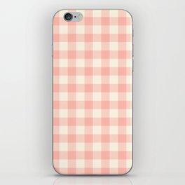 PASTEL GINGHAM 02, blush pink squares iPhone Skin
