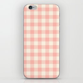 PASTEL GINGHAM 02, blush pink squares iPhone Skin