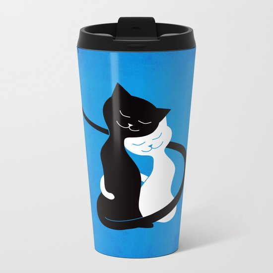 White And Black Cats In Love Metal Travel Mug