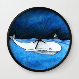 Seastorm over the whale Wall Clock