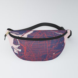 Portsmouth, England, Blue, White, City, Map Fanny Pack
