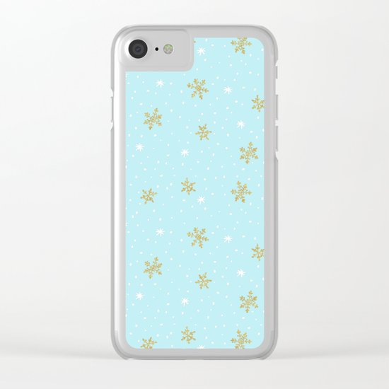 Merry christmas- abstract winter pattern with white & gold Snowflakes Clear iPhone Case